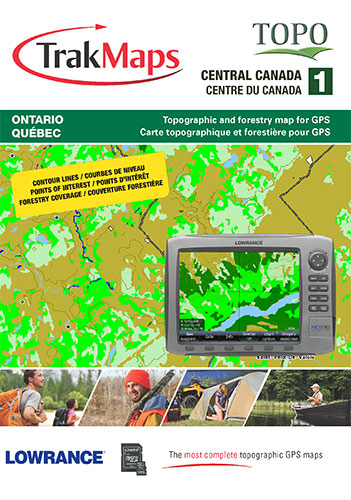 TOPO Central Canada map for Lowrance GPS including contour lines at on